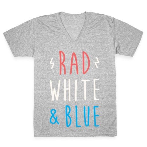 Rad White & Blue V-Neck Tee Shirt