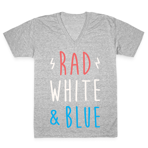 Rad White & Blue V-Neck Tee Shirt