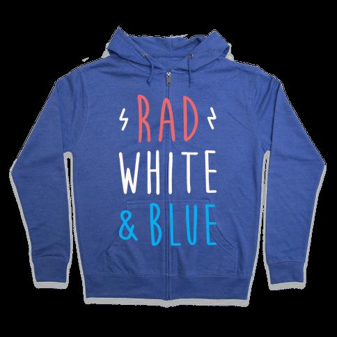 Rad White & Blue Zip Hoodie