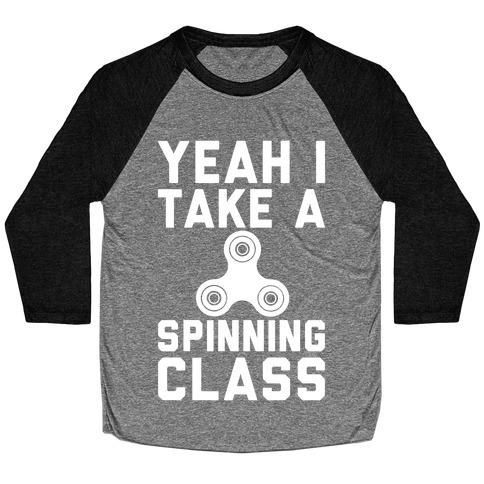 Yeah I Take A Spinning Class White Print Baseball Tee