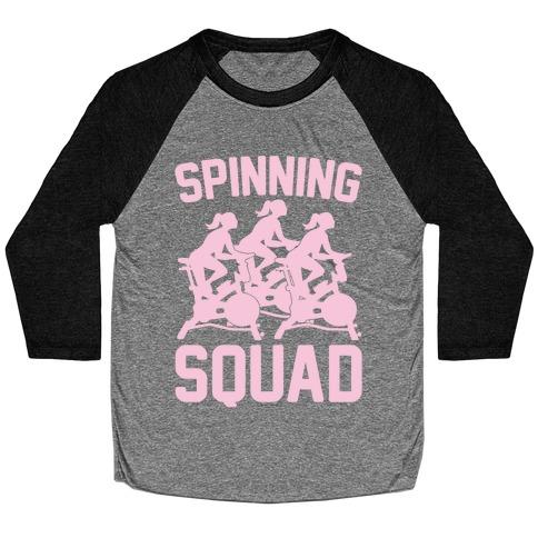 Spinning Squad White Print Baseball Tee