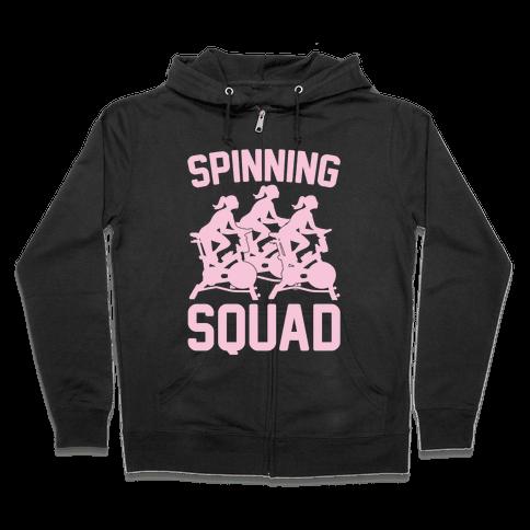Spinning Squad White Print Zip Hoodie