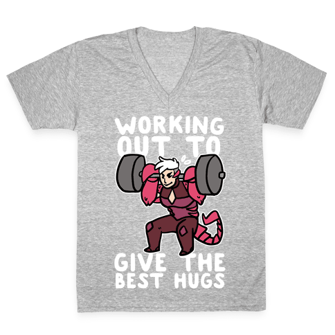 Working Out to Give the Best Hugs - Scorpia V-Neck Tee Shirt