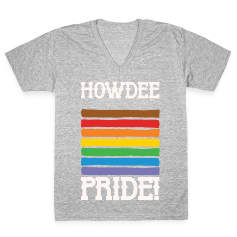 Howdee Pride White Print V-Neck Tee Shirt