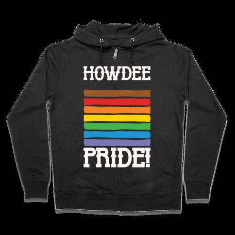Howdee Pride White Print Zip Hoodie