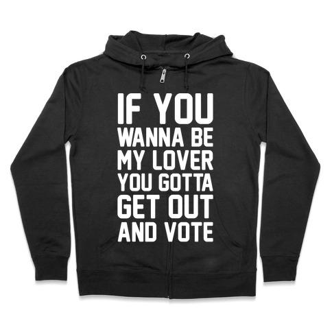 Wannabe Vote Parody White Print Zip Hoodie