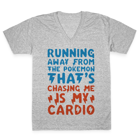 Running Away From The Pokemon That's Chasing Me Parody V-Neck Tee Shirt