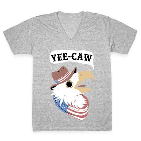 YEE-CAW American Bald Eagle V-Neck Tee Shirt