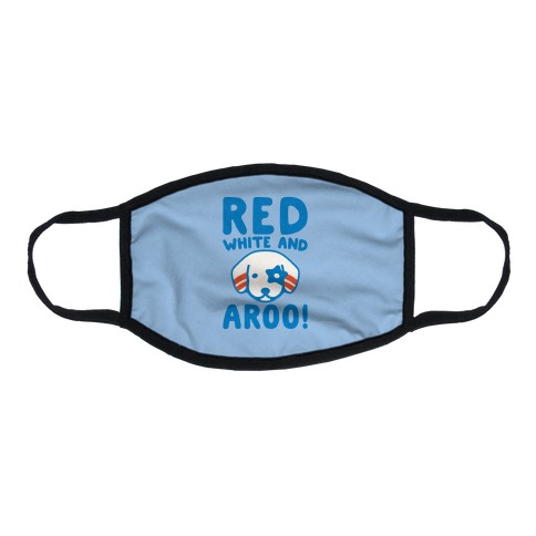 Red White and Aroo  Flat Face Mask