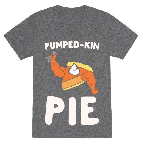 Pumped-kin Pie White Print V-Neck Tee Shirt