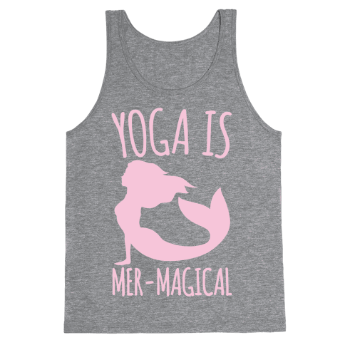 Yoga Is Mer-Magical White Print Tank Top