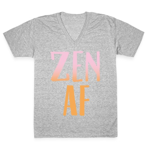 Zen Af White Print V-Neck Tee Shirt
