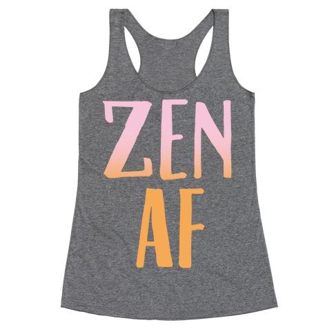 Zen Af White Print Racerback Tank Top