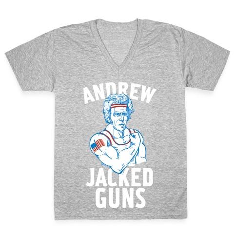 Andrew Jacked-Guns V-Neck Tee Shirt