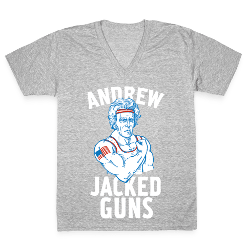 Andrew Jacked-Guns V-Neck Tee Shirt