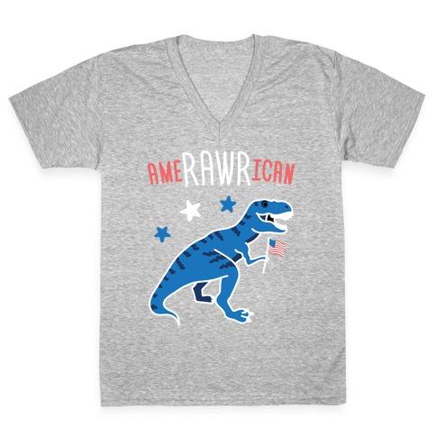 AmeRAWRican Dino V-Neck Tee Shirt