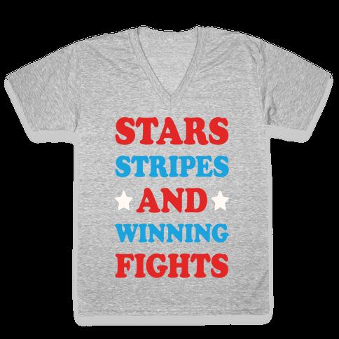 Stars Stripes And Winning Fights V-Neck Tee Shirt