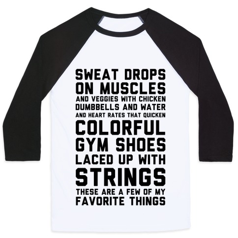 Sweat Drops On Muscles And Veggies With Chicken Baseball Tee