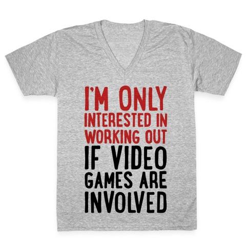 Video Game Workout V-Neck Tee Shirt