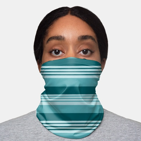 Turquoise Horizontal Stripes Neck Gaiter