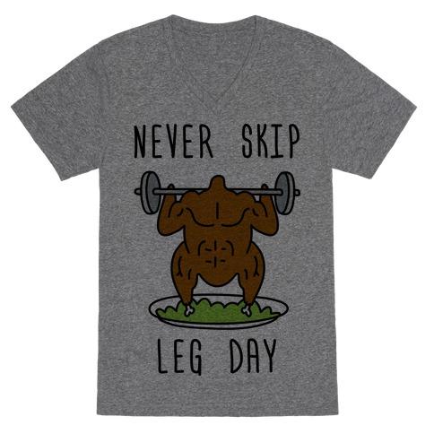 Never Skip Leg Day V-Neck Tee Shirt