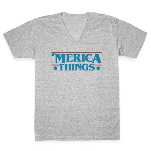 'Merica Things Parody V-Neck Tee Shirt