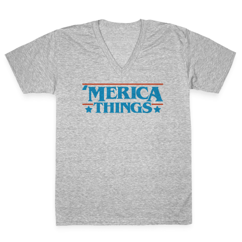 'Merica Things Parody V-Neck Tee Shirt