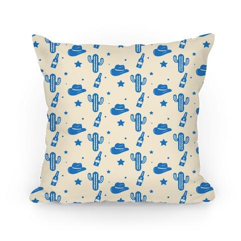 Cowboy Hats & Cacti Pattern (Blue) Pillow