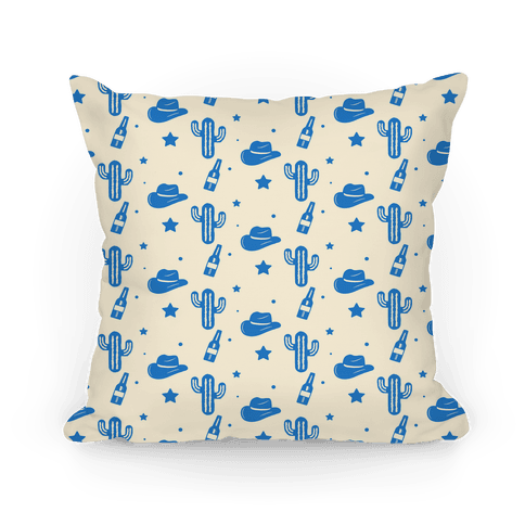 Cowboy Hats & Cacti Pattern (Blue) Pillow
