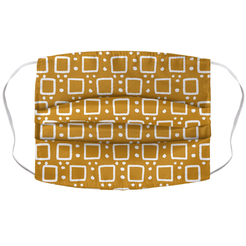 Square and Dot Yellow Brown Rustic Boho Pattern Face Mask