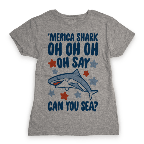 'Merica Shark Parody Womens T-Shirt