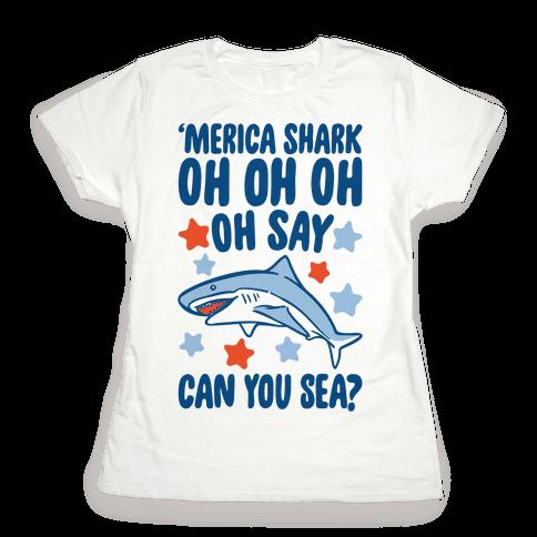 'Merica Shark Parody Womens T-Shirt