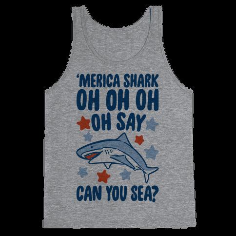 'Merica Shark Parody Tank Top