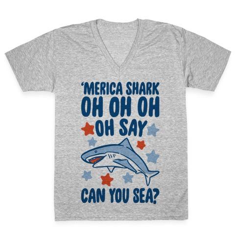 'Merica Shark Parody V-Neck Tee Shirt