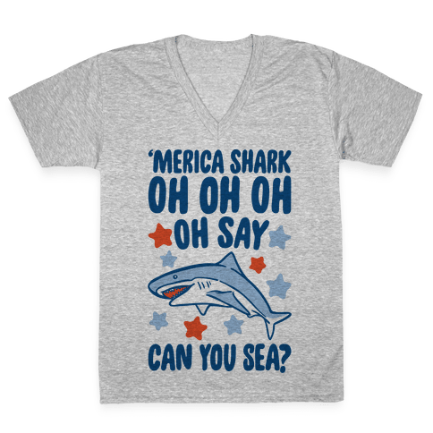 'Merica Shark Parody V-Neck Tee Shirt