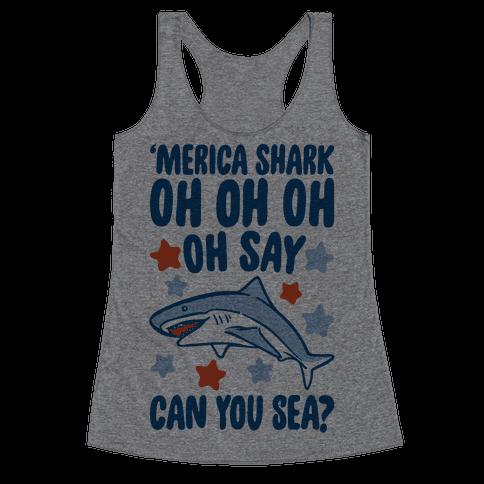 'Merica Shark Parody Racerback Tank Top
