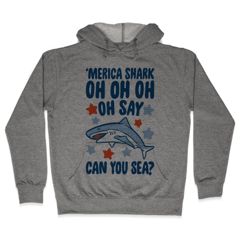 'Merica Shark Parody Hooded Sweatshirt
