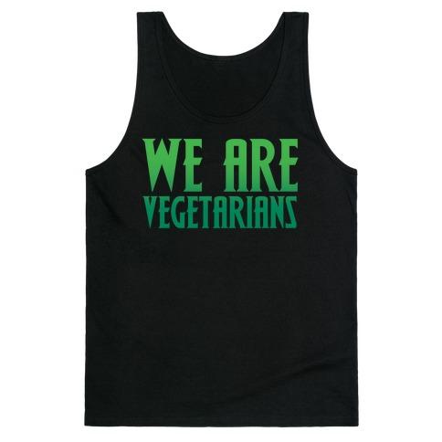 We Are Vegetarians Parody White Print Tank Top