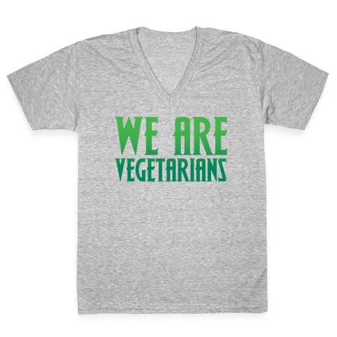 We Are Vegetarians Parody White Print V-Neck Tee Shirt