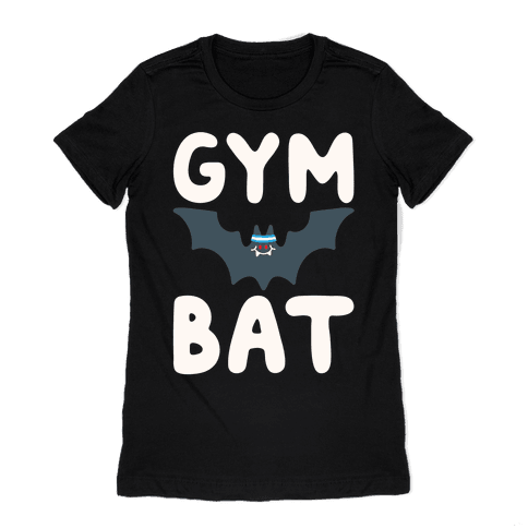 Gym Bat White Print Womens T-Shirt