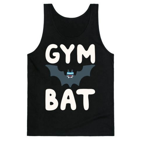 Gym Bat White Print Tank Top