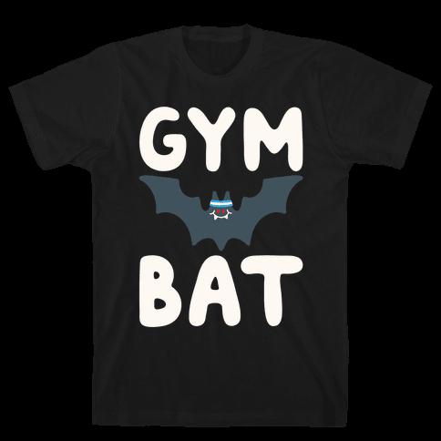 Gym Bat White Print Mens/Unisex T-Shirt