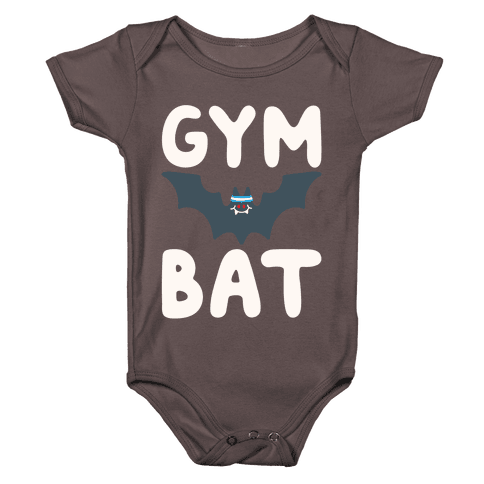Gym Bat White Print Baby One-Piece