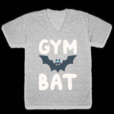 Gym Bat White Print V-Neck Tee Shirt