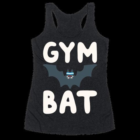 Gym Bat White Print Racerback Tank Top