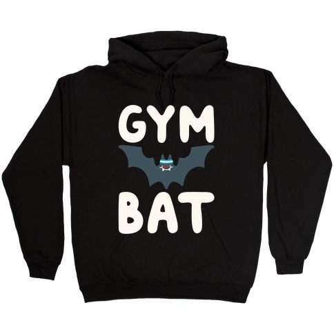 Gym Bat White Print Hooded Sweatshirt