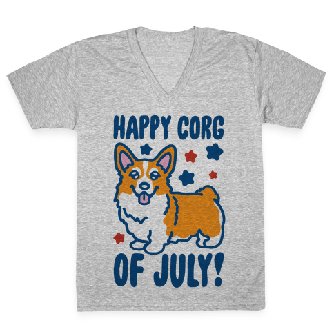 Happy Corg Of July Parody V-Neck Tee Shirt