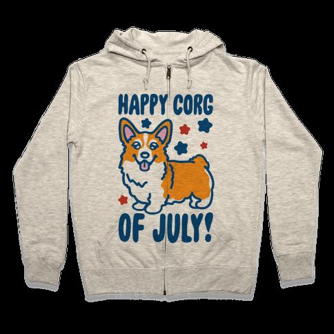 Happy Corg Of July Parody Zip Hoodie