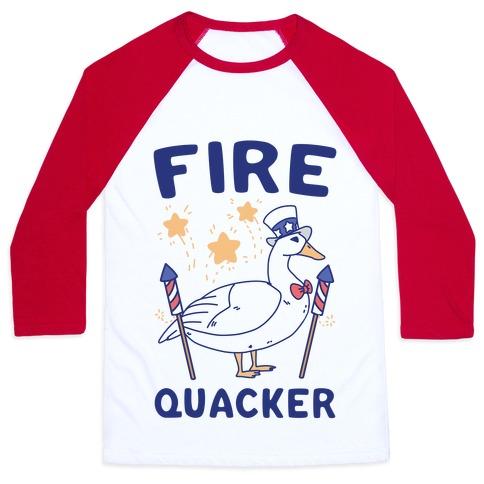 Fire Quacker  Baseball Tee