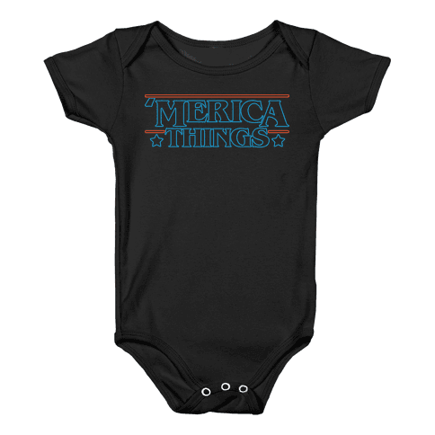 'Merica Things Parody White Print Baby Onesy